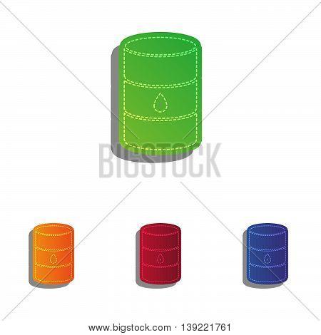 Oil barrel sign. Colorfull applique icons set.