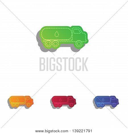 Car transports Oil sign. Colorfull applique icons set.