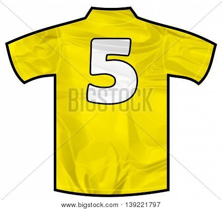 Number 5 five yellow sport shirt as a soccer, hockey, basket, rugby, baseball, volley or football team t-shirt. Like brazil national team