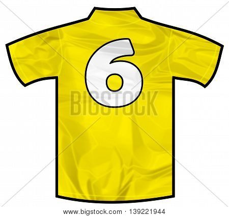 Number 6 six yellow sport shirt as a soccer, hockey, basket, rugby, baseball, volley or football team t-shirt. Like brazil national team
