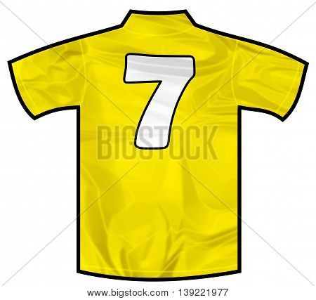 Number 7 seven yellow sport shirt as a soccer, hockey, basket, rugby, baseball, volley or football team t-shirt. Like brazil national team