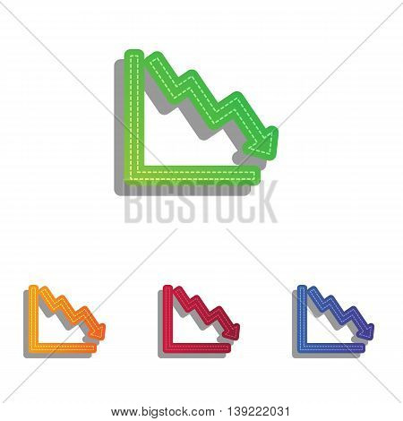 Arrow pointing downwards showing crisis. Colorfull applique icons set.