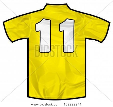 Number 11 eleven yellow sport shirt as a soccer, hockey, basketball,  rugby, baseball, volley or football team t-shirt. Like brazil national team