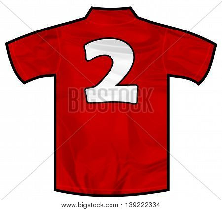 Number 2 two red sport shirt as a soccer, hockey, basket, rugby, baseball, volley or football team t-shirt. Like Spain or England or Russia national team