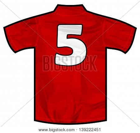 Number 5 five red sport shirt as a soccer, hockey, basket, rugby, baseball, volley or football team t-shirt. Like Spain or England or Russia national team