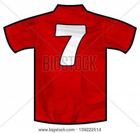 Number 7 seven red sport shirt as a soccer, hockey, basketball,  rugby, baseball, volley or football team t-shirt. Like Spain or England or Russia national team