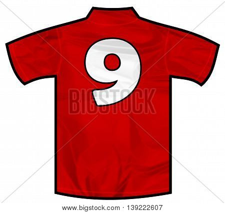 Number 9 nine red sport shirt as a soccer, hockey, basketball, rugby, baseball, volley or football team t-shirt. Like Spain or England or Russia national team