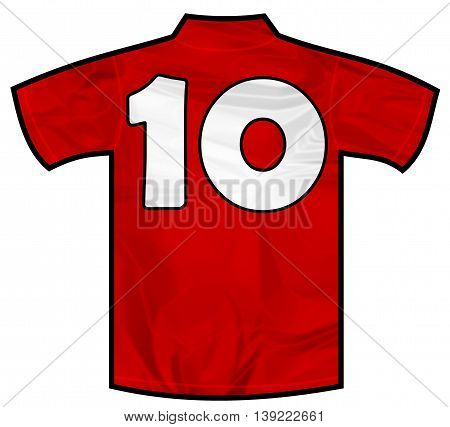 Number 10 ten red sport shirt as a soccer, hockey, basketball, rugby, baseball, volley or football team t-shirt. Like Spain or England or Russia national team