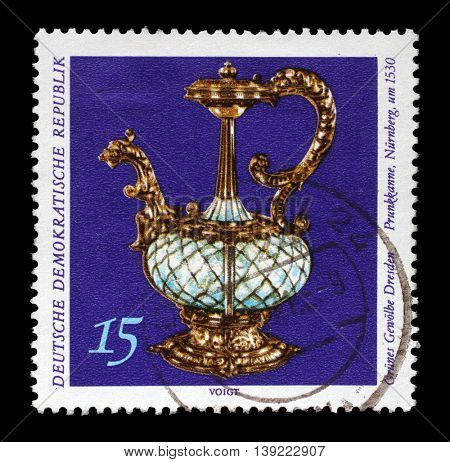 ZAGREB, CROATIA - JULY 03: A stamp printed in GDR from the Art, The Grnes Gewolbe Dresden issue shows magnificent pot, circa 1971, on July 03, 2014, Zagreb, Croatia