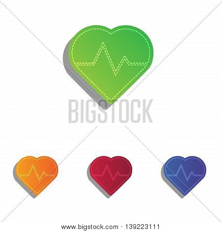 Heartbeat sign illustration. Colorfull applique icons set.