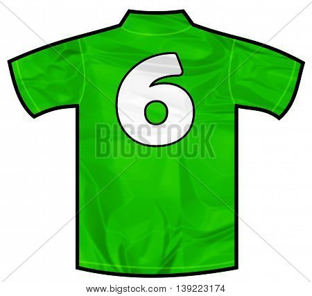 Number 6 six green sport shirt as a soccer, hockey, basketball, rugby, baseball, volley or football team t-shirt. Like Ireland or Mexico national team
