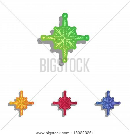 Wind rose sign. Colorfull applique icons set.