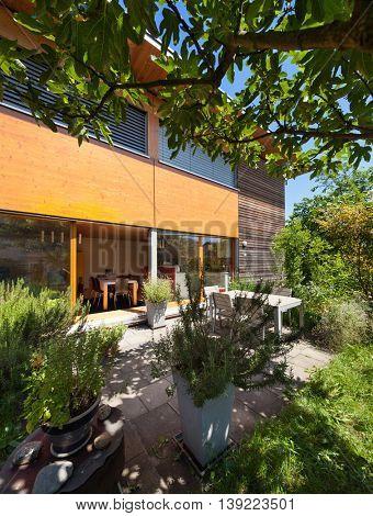 Veranda of a wooden house,  modern design
