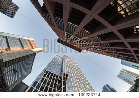 Perspective Of Skyscrapers In Frankfurt Am Main
