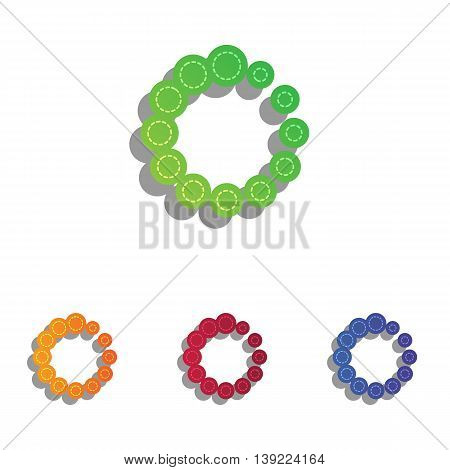 Circular loading sign. Colorfull applique icons set.