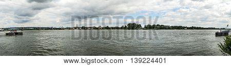 Skyline Of Left Rhine Bank Seen From Mainz With Old Bridge