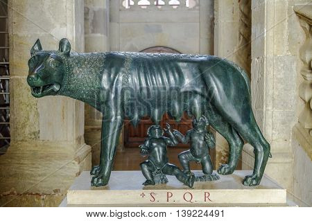 Narbonne - France July 17 2016: The Wolf Romulus and Remus. In 1982 celebrated 2100 years of existence Narbona first Roman colony and first daughter of Rome outside Italy .. Rome has offered this magnificent bronze sculpture replica.