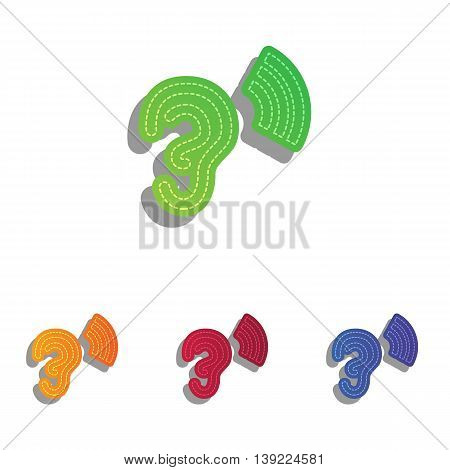 Human ear sign. Colorfull applique icons set.