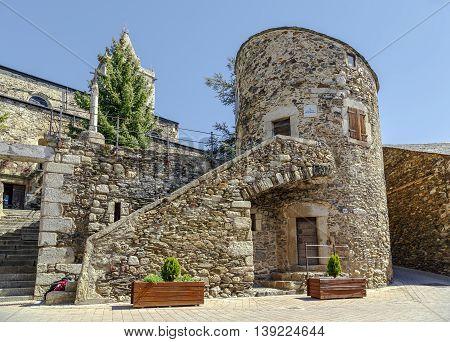 Bell tower and tower Bernat de So. In Llivia Spain