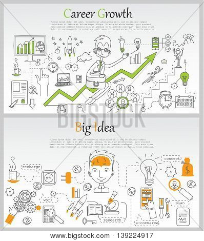 Doodle line design of web banner template with outline icons of career growth, brainstorming,big idea, creative thinking. Modern vector illustration concept for website or infographics.