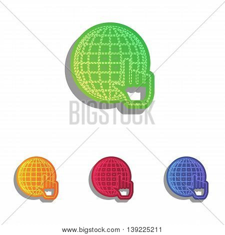Earth Globe with cursor. Colorfull applique icons set.