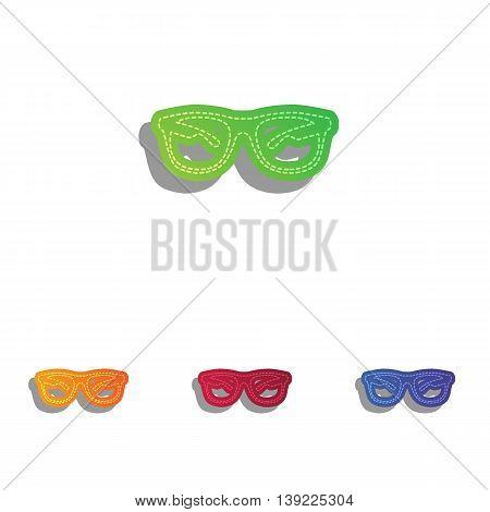 Sunglasses sign illustration. Colorfull applique icons set.