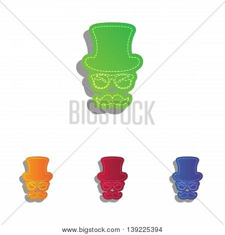 Hipster accessories design. Colorfull applique icons set.