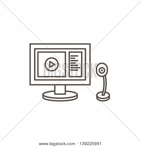Online webinar line Icon. Monitor and webcam.