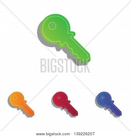 Key sign illustration. Colorfull applique icons set.