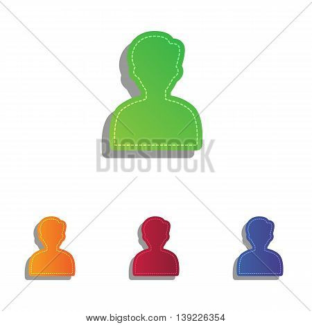 User avatar illustration. Anonymous sign. Colorfull applique icons set.