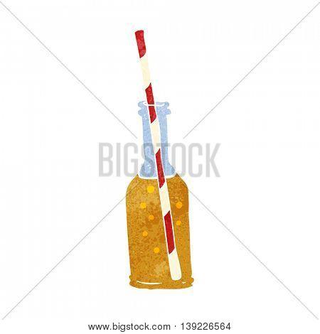 freehand retro cartoon soda bottle and straw