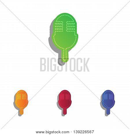 Retro microphone sign. Colorfull applique icons set.
