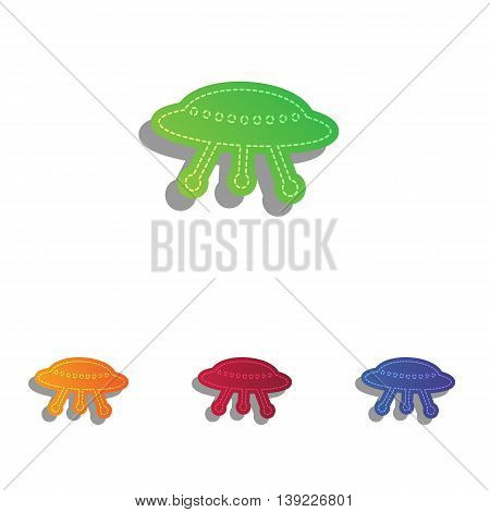 UFO simple sign. Colorfull applique icons set.