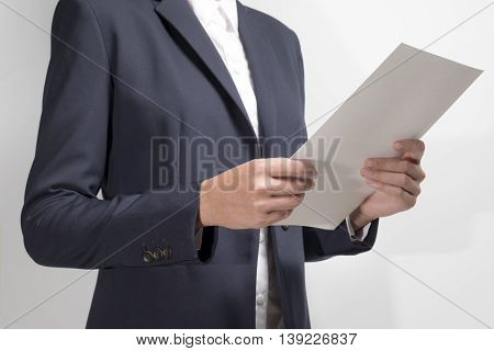 Businesswoman Holding Document