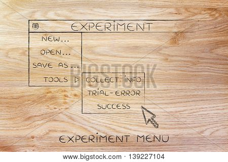 Experiment Dropdown Menu, Pointer Selecting The Success Option