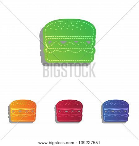 Burger simple sign. Colorfull applique icons set.