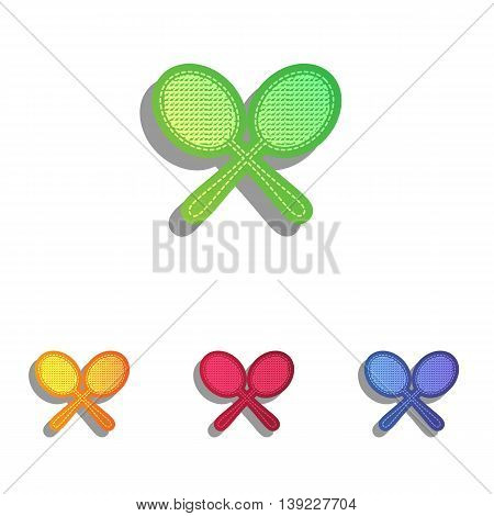 Tennis racquets sign. Colorfull applique icons set.