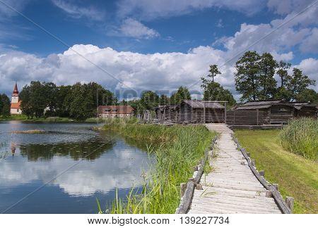 anciet log houses village on lakes island