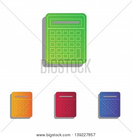 Calculator simple sign. Colorfull applique icons set.