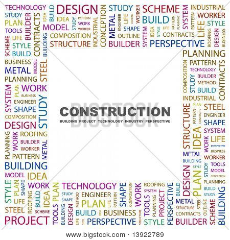 CONSTRUCTION. Word collage on white background. Vector illustration. Illustration with different association terms.