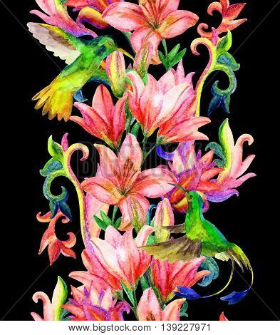 Lily border with watercolor birds. Floral seamless pattern with humming bird on black background. Hand painted illustration
