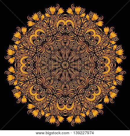 Round gold khokhloma pattern on black background. Circular ornament. Design element. Illustration for greeting cards, invitations, and other printing projects.