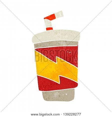 freehand retro cartoon soda drink