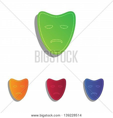 Tragedy theatrical masks. Colorfull applique icons set.