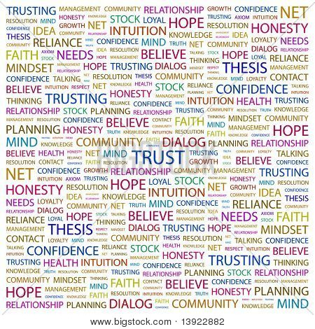 TRUST. Word collage on white background. Vector illustration. Illustration with different association terms.