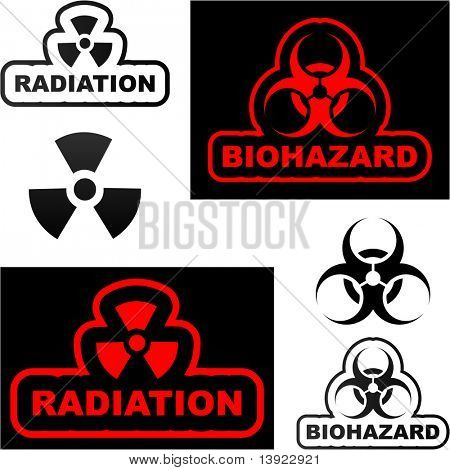 Biohazard and radiation signs. Vector illustration.
