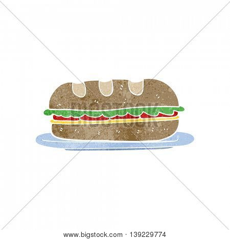 freehand retro cartoon sub sandwich