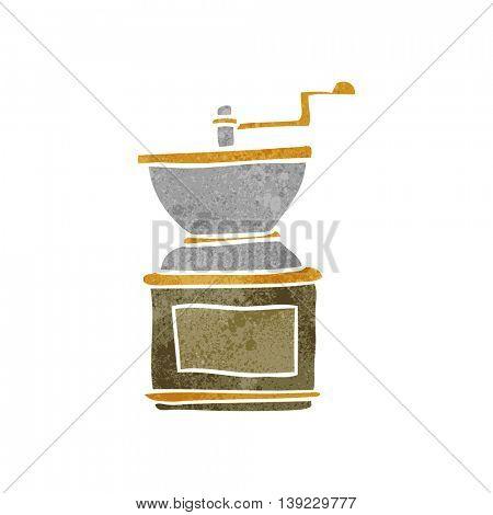 freehand retro cartoon coffee bean grinder