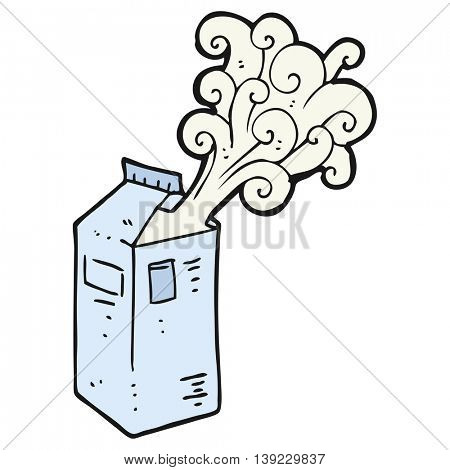 freehand drawn cartoon milk carton exploding