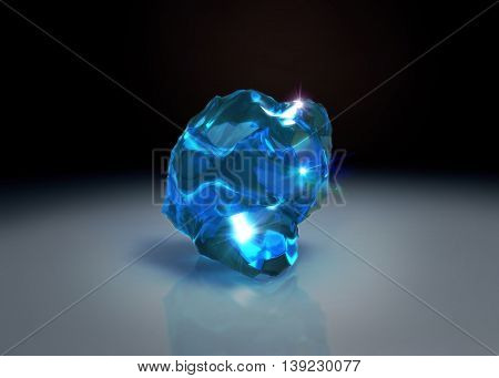 Blue Crystal Stone On Table